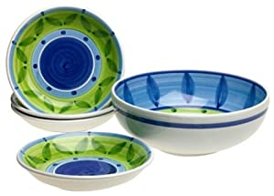 Caleca Bluemoon 5-Piece Pasta Serving Set, Service for 4 by Caleca