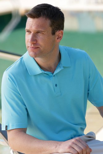 Glenmuir Mens Howth Combed Cotton Solid Colour Golf Polo Shirt In 16 Colours - XL - Light Blue
