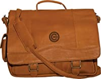 MLB Oakland Athletics Tan Leather Porthole Laptop Briefcase by Pangea Brands