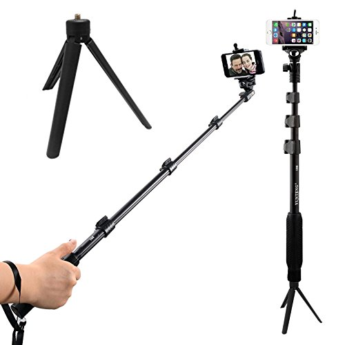 DMG Extendable handheld YunTeng YT-188 Selfie Sticks Monopod + Mini Tripod Stand Mount + Phone Holder Clip Desktop Self-Tripod + Bluetooth Remote Shutter Controller Self-Timer for iPhone iPad Samsung