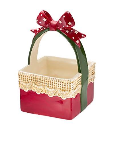 Christmas Chalet  Cestino Fiocco Ceramica