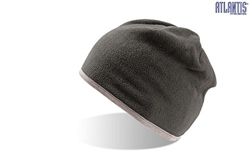 SCOTT Grigio-Grigio BEANIE HAT cuffia cappello double face 100% Cotone+100% Polar Fleece Pile