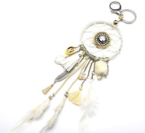 PT866D-Porta-chiavi, gioiello da borsetta Acchiappa-sogni Dreamcatcher macramè Ciondolo con pompon e piume, modo fantasia etnica, colore: bianco