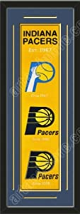 Heritage Banner Of Indiana Pacers With Team Color Double Matting-Framed Awesome &... by Art and More, Davenport, IA