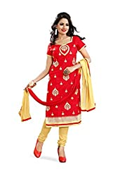 JHEENU Women's Embroidered Unstitched Straight Dress Material (Red_Free Size)...
