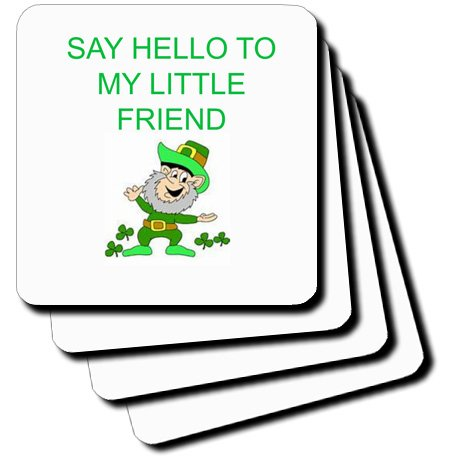 Cst_172417_2 Xander Funny Quotes - Say Hello To My Little Friend, Picture Of Leprechaun, Green Lettering - Coasters - Set Of 8 Coasters - Soft front-390016