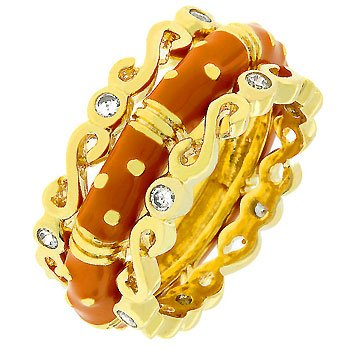 14k Gold Bonded Ring Triplet with Orange Enamel Eternity Band of Goldtone Stripes and Polka-dots Separated By Small Round Bezel Set Cz Between 2 Separate Eternity Bands in Goldtone Women's Jewelry (5)