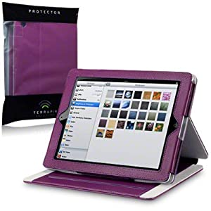Apple iPad Techstyle PU Leather Folio Case With Stand (iPad 2 / 3 / 4 Retina) - Purple by Terrapin