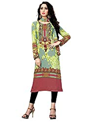 Justkartit Women's (Girls) Green Colour Digital Printed Unstitched Malai Lawn Pakistani Style / Karachi Style Daily wear kurta / Stylish Kurti
