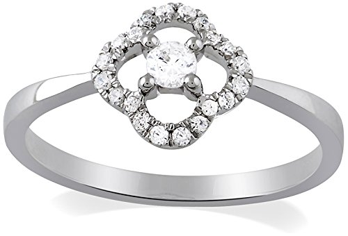 All My Jewellery Ring Necklace 9 ct White Gold Diamond 0.21 cts BAFI01001
