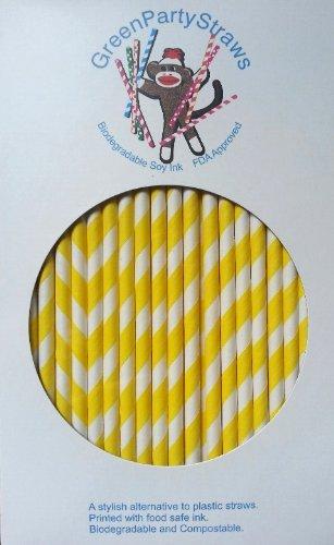 Paper Straws Box of 144 Yellow