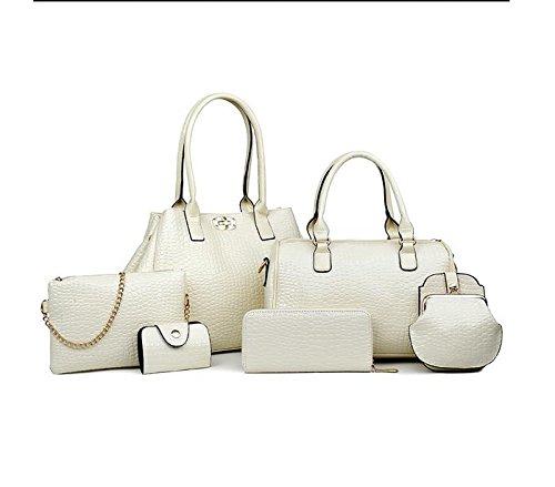 Da Wu Jia donna borsetta modello Coccodrillo 6 piece SET diagonal portatile singola borsa a tracolla , bianco cremoso