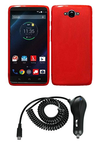 Motorola Droid Turbo - Red Flexible Tpu Slim Fit Gel Skin Cover Case + Atom Led Keychain Light + 2.1A (2100 Mah Output) Micro Usb Car Charger