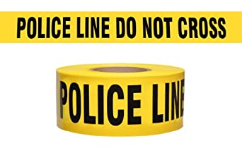 "Presco B31022Y11-658 1000' Length x 3"" Width x 2.5 mil Thick, Polyethylene, Yellow with Black Ink Barricade Tape, Legend ""Police Line Do Not Cross"" (Pack of 8)"