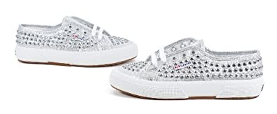 Superga Women's 2750 Lame Studs Canvas Studded Sneaker, Silver
