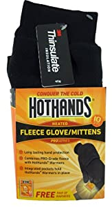 HotHands Heated Fleece Glove / Mittens (Black, Medium/ Large)