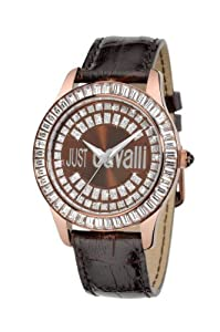 Just Cavalli Women's R7251169055 Ice Gold Ion-Plated Coated Stainless Steel Brown Genuine Leather Swarovski Crystal Watch