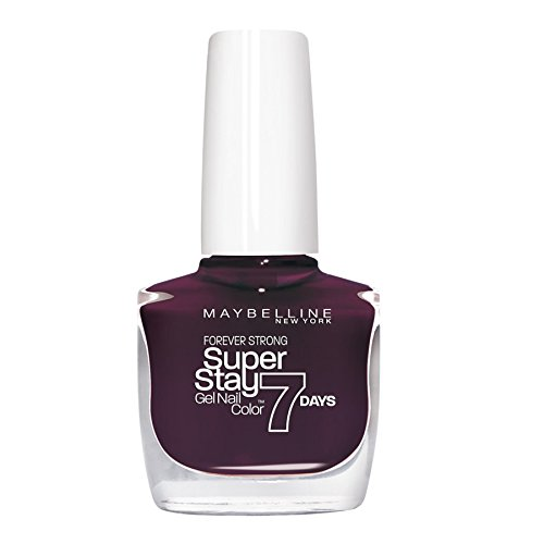 Maybelline New York Superstay 7 Days Smalto Effetto Gel, 05 Extreme Black Current