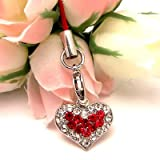 Red Two tone Heart Cell Phone Charm Strap Cubic Stone