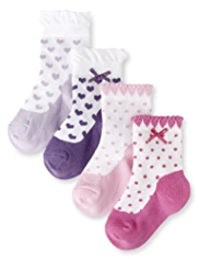 4 Pairs of Cotton Rich Baby Shoe Socks