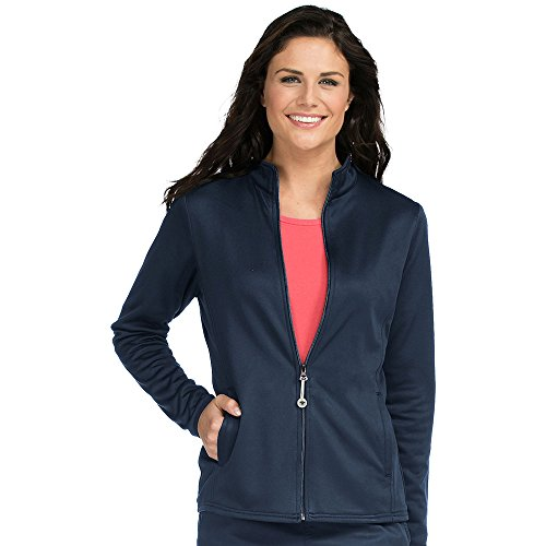 Med-Couture-Womens-Med-Tech-Zip-Up-Solid-Scrub-Jacket-Large-New-Navy