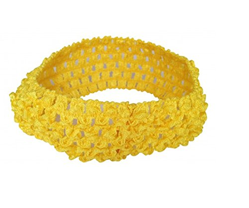 PinkXenia Crochet Knitted soft Elastic NewBorn BabyGirl Yellow Headband