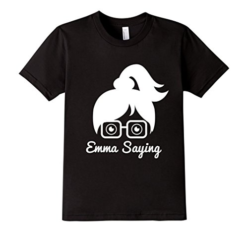 Kids-EmmaSaying-Fan-Club-Logo-T-Shirt-Nerdy-Girl-With-Glasses-Black