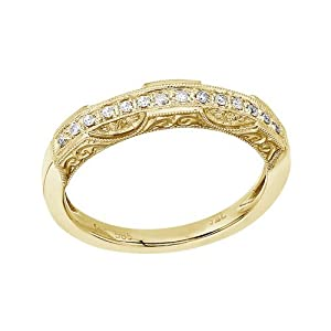 14K Yellow Gold Filigree Diamond Band Ring (Size 7)