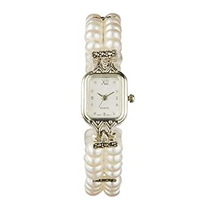 sterling silver 2-row genuine pearl watch