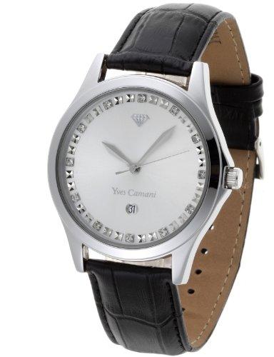 Yves Camani - YC1028-E - Montre Homme - Quartz Analogique - Cadran Argent - Bracelet Cuir Noir