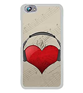 Heart with Headphone 2D Hard Polycarbonate Designer Back Case Cover for Micromax Canvas Fire 4 A107
