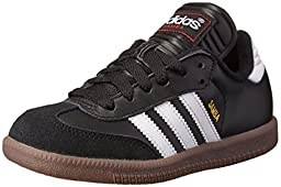 adidas Samba Classic Leather Soccer Shoe (Toddler/Little Kid/Big Kid),Black/ White,2.5 M US Little Kid