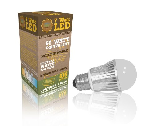 7W Led Bulb A19 Neutral White (4000K) 615 Lumen, Ul Listed (Fire Safety Certified), Non-Dimmable, Best Energy Saving Replacement Bulbs For 50W And 60W Bulbs At Home Or The Office- Save Over 85% On Lighting Bills- 100% Money Back Guarantee!