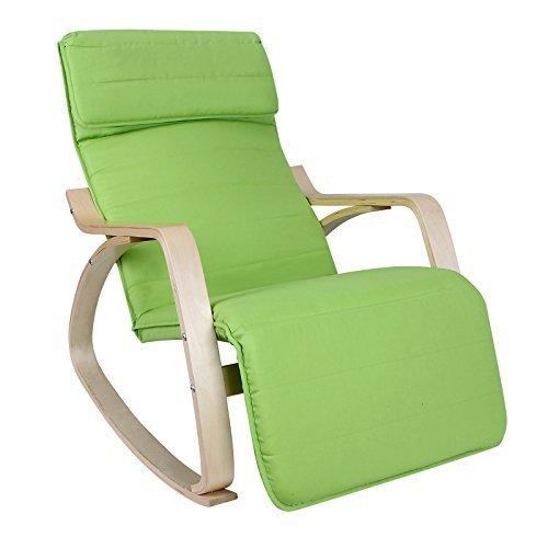 Songmics Poltrona dondolo con Poggia gambe di angolo regolabile a 5 gradi Carico Massimo 150 kg Verde LYY10L