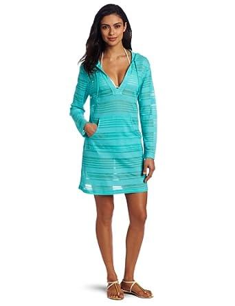 JAG Women's Jag Long Sleeve Cover Up, Aqua Blue, Small