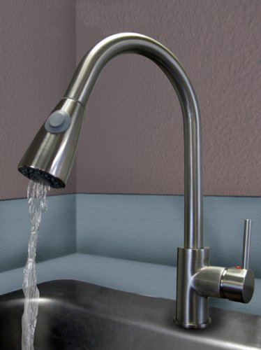 Brushed Nickel Pull Out Kitchen Faucet Premium Quality Stylish Design