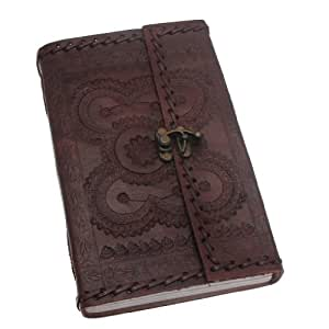 Indra Extra Large Stitched and Embossed Leather Journal with clasp 145 x 240 mm