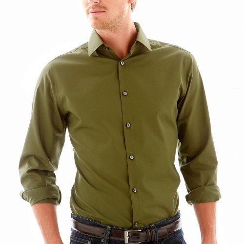 Jf J Ferrar Slim Solid Dress Shirt Olive Green Mens
