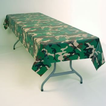 Plastic Table Cloth : Plastic Table Cloths Discount: Camouflage Plastic Tablecloth 54