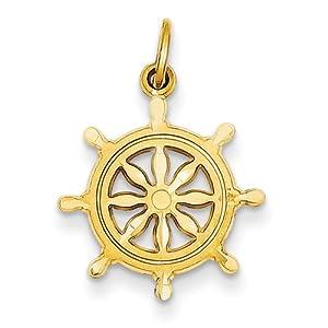 14k Yellow Gold Ships Wheel Charm