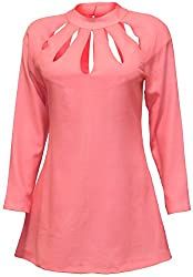 Attuendo Women's Twill Wool Cutout Short Dress with Long Sleeves (X-Large)