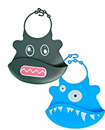 Rowdy the Robot and Blue the One Eyed Monster Silicone Baby Bib 2 Pack - Tykes and Tails - Wipeable Food Grade Ultra Flexible Design for Ultra Comfort for your Baby