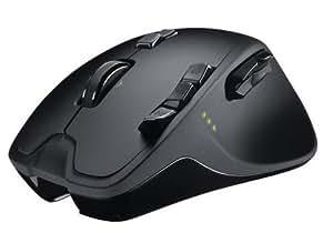 Logitech Wireless Gaming Mouse G700 Souris sans-fil Laser pour le jeu Roulette de défilement double mode Boutons sculptés de façon individuelle -13 commandes programmables Noir
