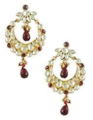 The Art Jewellery Maroon Chand Shaped Kundan Dangle&Drop Earrings For Women