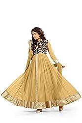 BanoRani Beige Color Net & Floral Jacquard UnStitched Anarkali Dress Material