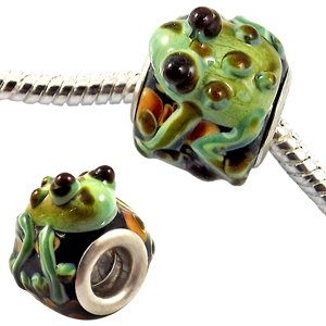 Enamel Frog charm bead - Green -fits pandora & troll bracelets - hand polished and hand finished to fine jewellery standard