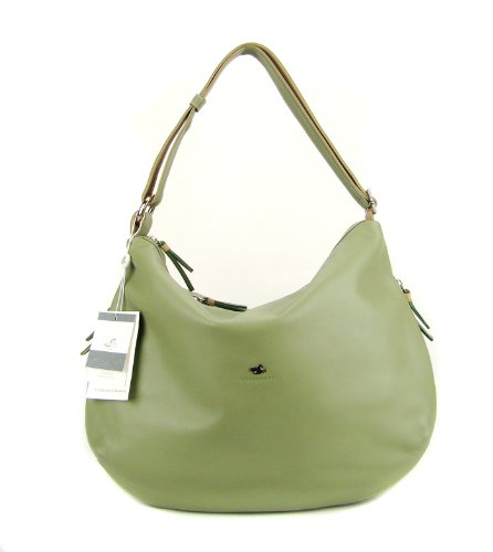 BRUNO ROSSI Italian Sage Leather Shoulder Bag Cross-body Hobo Bag