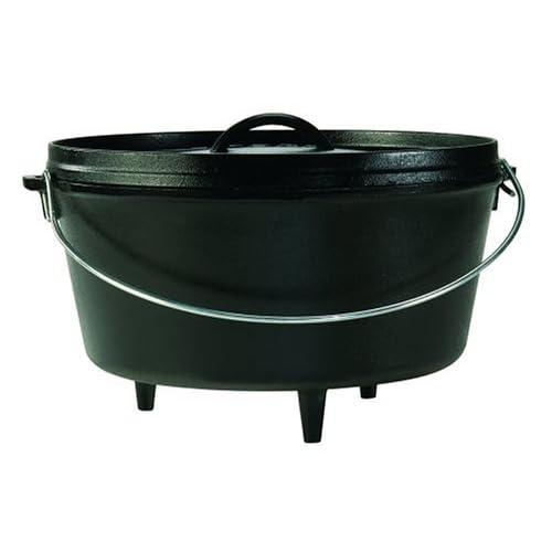 lodge logic 8 quart camp dutch oven griddle cast iron ebay