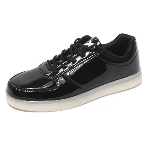 B0596 sneaker uomo WIZE & OPE BLACK LAMINATED POP shoes men [44]