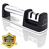Professional 2-stage Kitchen Knife Sharpener - Best Stainless Steel Knife Sharpening Kit for Straight Blade and Knives by Ocunaris (Black)